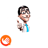 Selo Hand Talk, com imagem do Hugo, site amigo do surdo