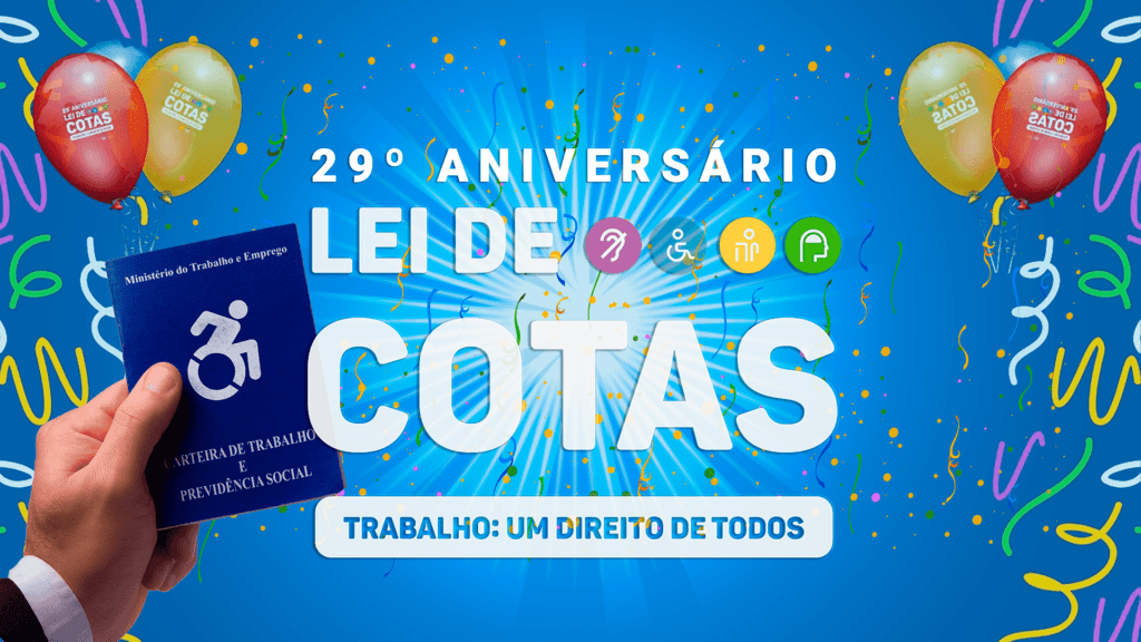 Banner azul da Lei de Cotas – 29º Aniversário