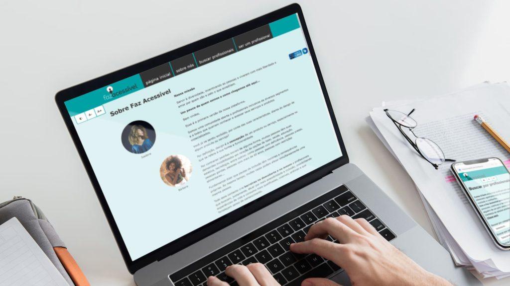 Imagem de um computador e um celular para o texto sobre Faz Acessível é a primeira comunidade profissional multi-inclusiva do Brasil