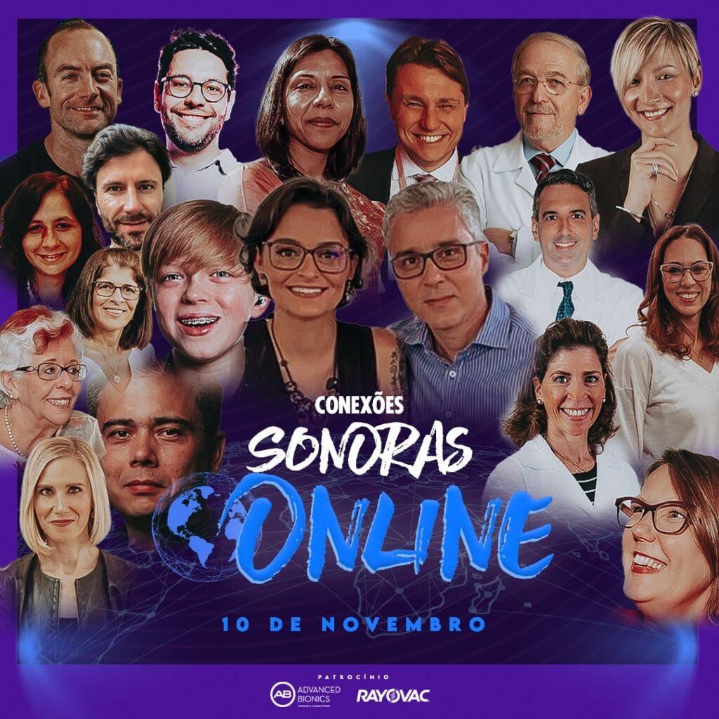 Banner com os rostos dos participantes do evento Conexões Sonoras Online_convidados