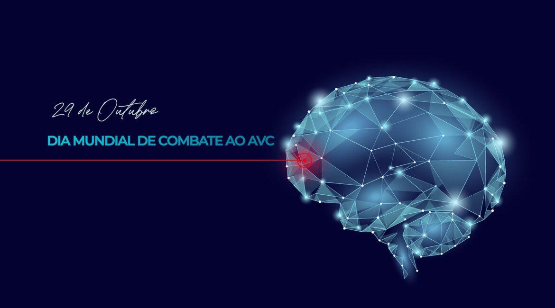 Imagem de um cérebro futurístico e o titulo Dia Mundial de Combate ao AVC