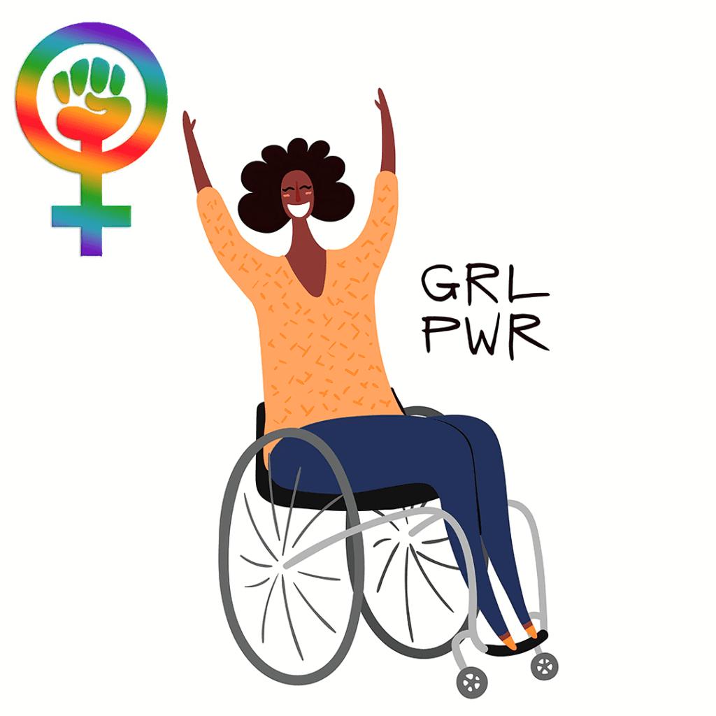 Ilustração com uma mulher negra cadeirante o Feminismo e as Mulheres com Deficiência