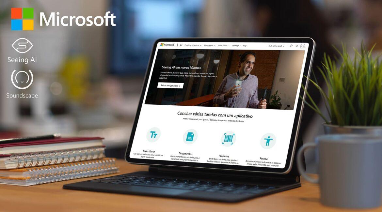 Notebook aberto no site do Seeing AI para o texto Microsoft lança apps para cegos em português