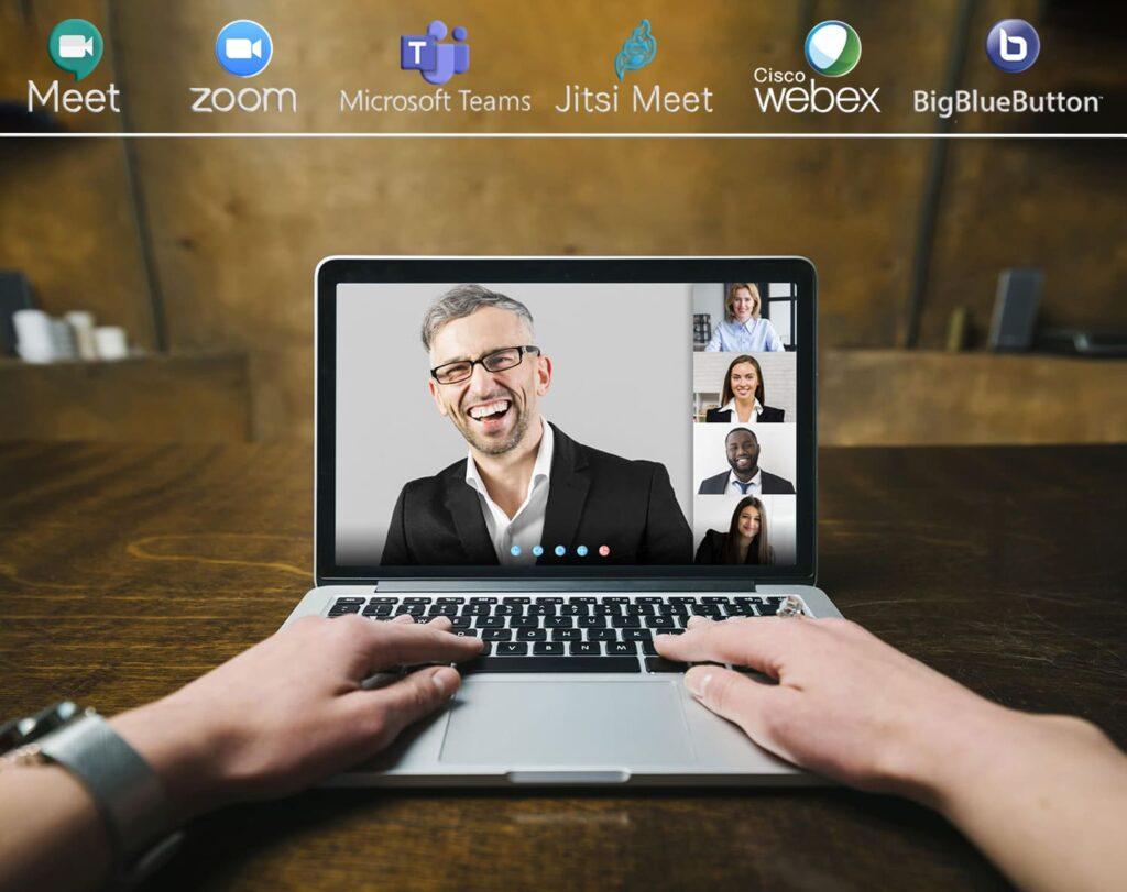 """Reunião on-line com os logos das principais plataformas, para o texto """"Acessibilidade em videoconferências"""""""