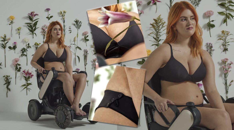 Fotografia de modelo cadeirante usando calcinha e sutiã - Fashion e Funcional: Moda Inclusiva