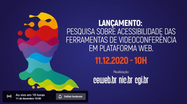 Banner de lançamento de estudo para saber se Plataformas de Videoconferência são acessíveis?