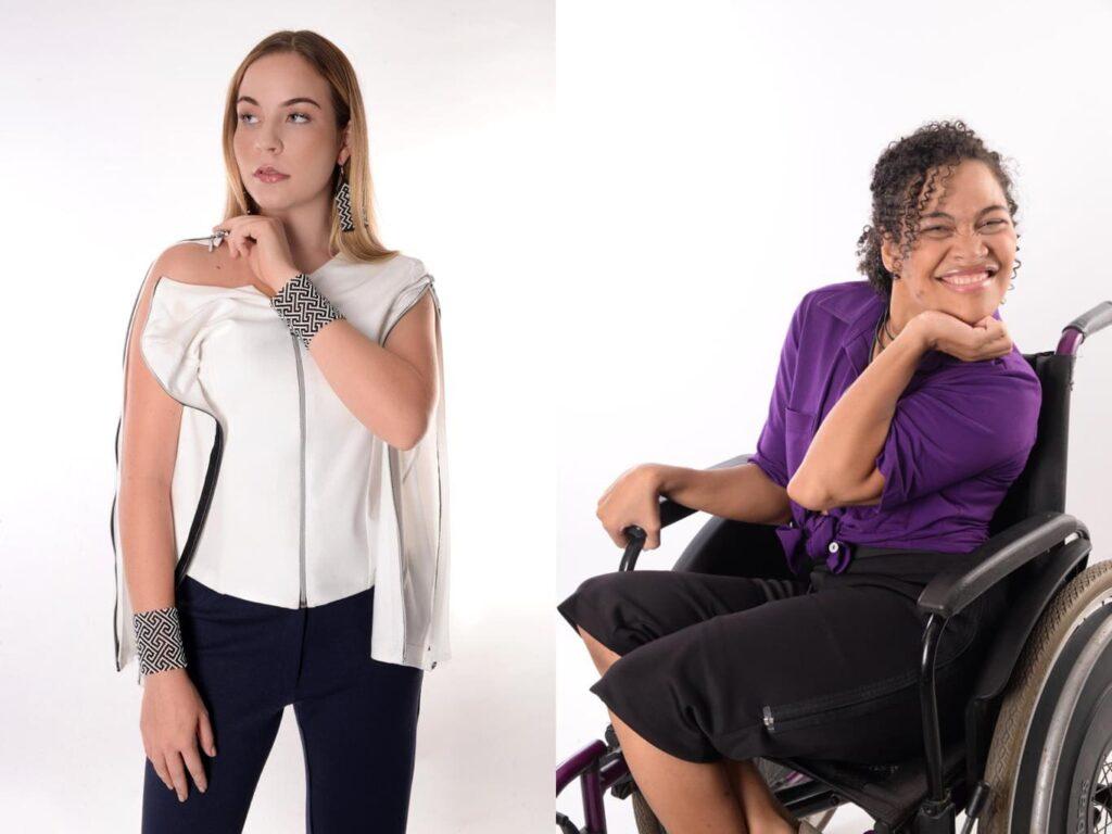 Duas modelos com roupas da Equal Moda Inclusiva