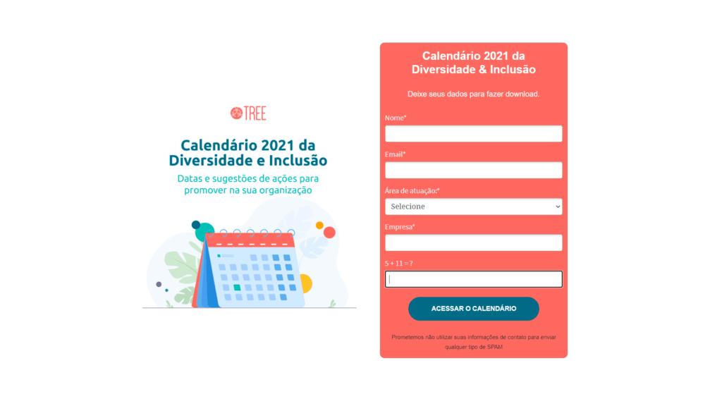 Imagem da landing page Calendário 2021 da Diversidade e Inclusão