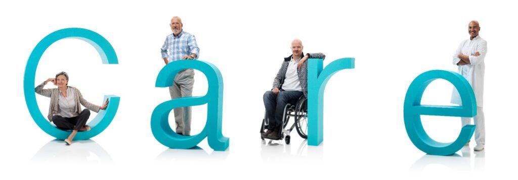"""Banner ilustrativo com a palavra em inglês """"Care"""", para a entrevista sobre Desafios de Estomizados e Cadeirantes, com o Diretor-geral da Coloplast"""