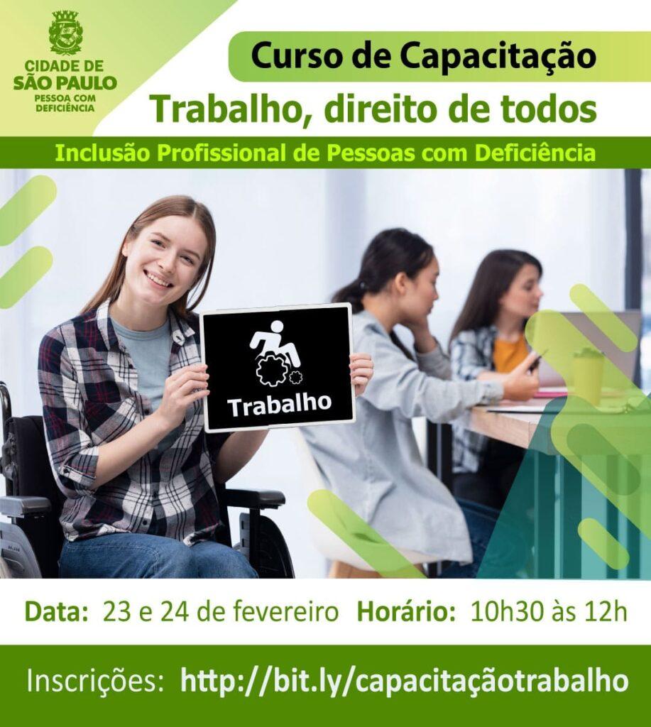Banner de divulgação com mulher cadeirante ilustra Prefeitura de SP quer melhorar contratação de PcDs
