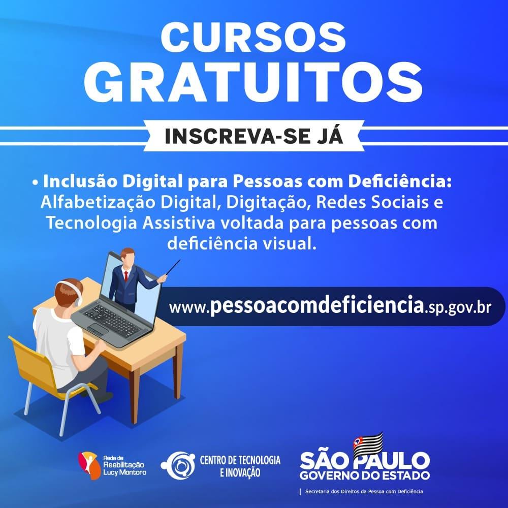 Banner de divulgação dos Cursos gratuitos de inclusão digital para pcds em SP