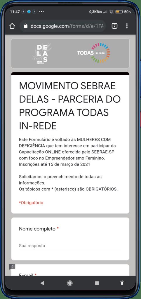 Celular na página do formulário de inscrição ilustra Sebrae Delas abre turma 2021 para Mulheres com deficiência em SP