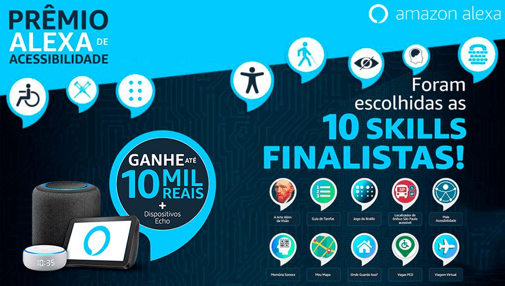 Banner com finalistas do Prêmio Alexa de Acessibilidade revela os 10 finalistas