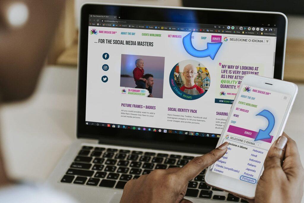 Pc e mobile web rarediseaseday.org, Dia das Doenças Raras 2021