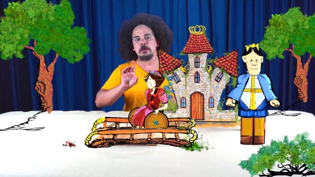 Contador de A Conselheira do Rei interagindo com as animações 3D.