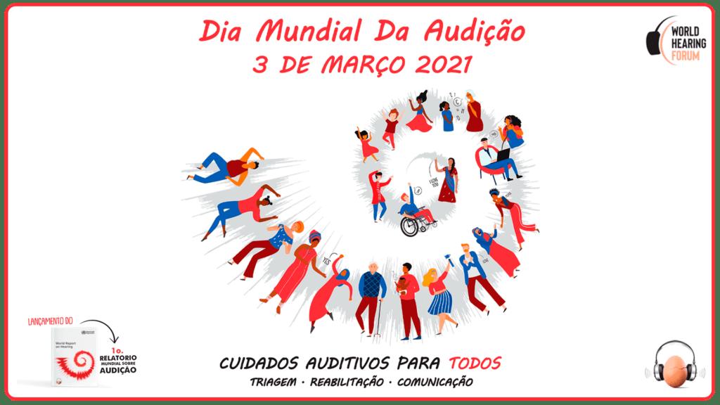 Banner oficial da OMS ilustra o texto 1 em 4 pessoas terão problemas auditivos até 2050
