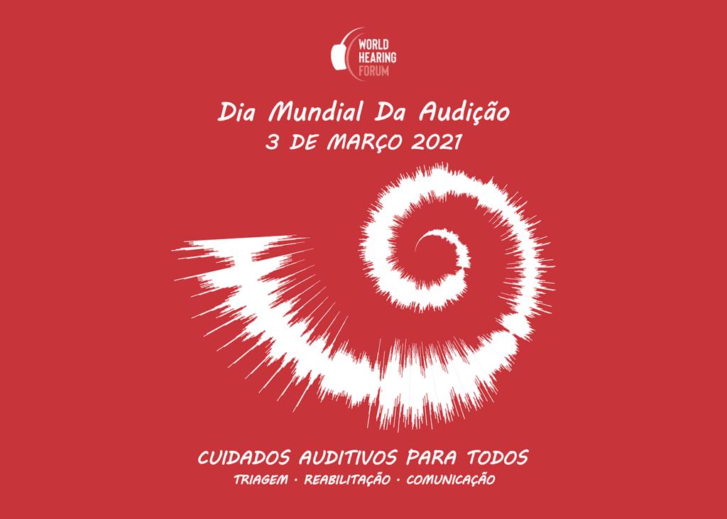 Banner oficial OMS, Dia Mundial da Audição 2021, 1 em 4 pessoas terão perda auditiva até 2050