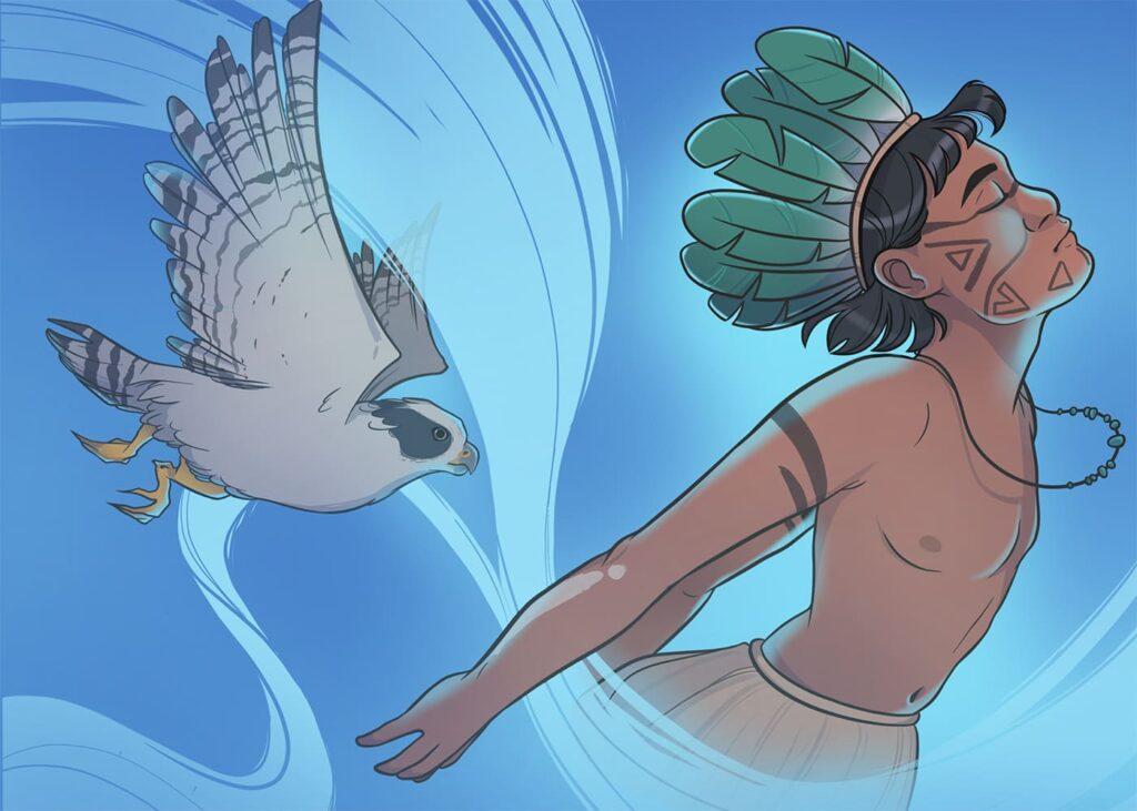 Ilustração azul, com pássaro e um indígenas da HQ de Língua Indígena de Sinais, descrita na legenda.