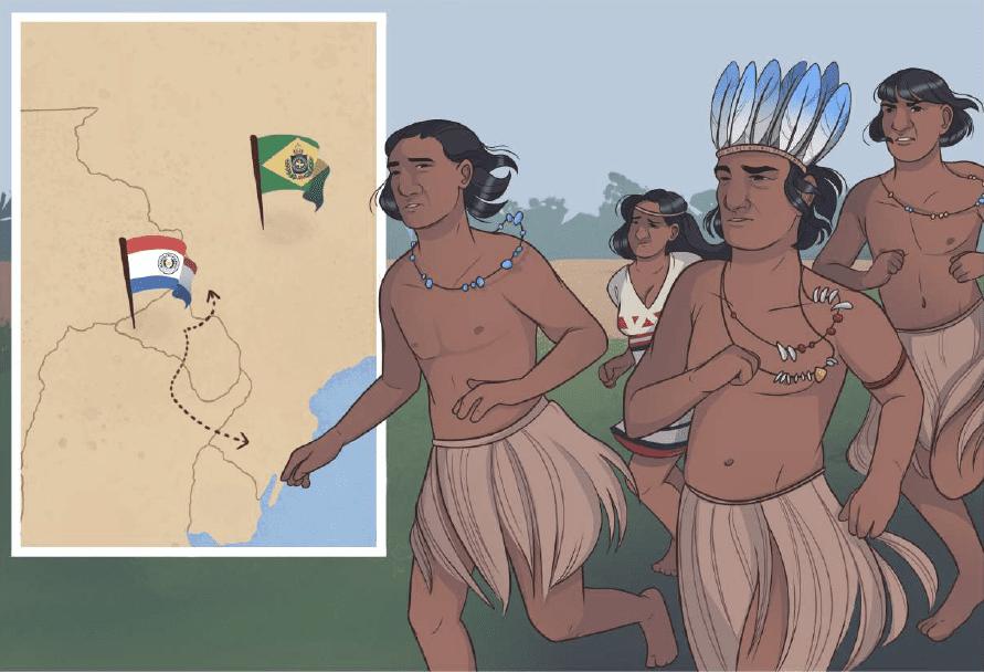 Ilustração com mapa e quatro indígenas da HQ de Língua Indígena de Sinais, descrita na legenda.