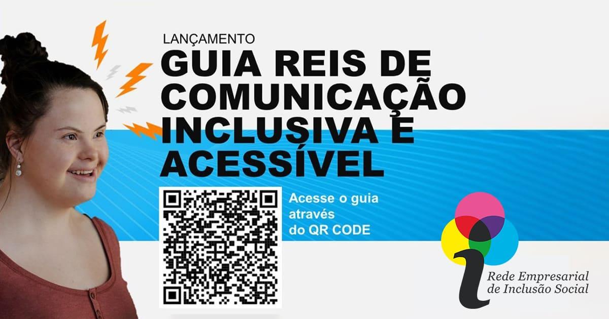 """Banner com texto """"Lançamento - Guia de Comunicação Inclusiva e Acessível"""", e foto descrito na legenda."""