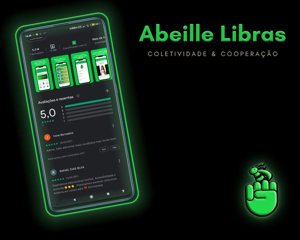 Banner do app Abeille Libras, lançado no Dia Nacional de Libras 2021.