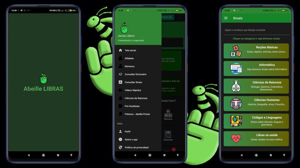 Mockup mobile do apo Abeille LIBRAS, descrito na legenda, do Dia Nacional da Libras 2021.