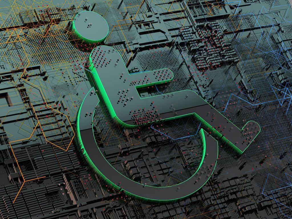 Imagem abstrata de circuito tecnológico com símbolo de acessibilidade, ilustrando IBM e a Neurodiversidade.