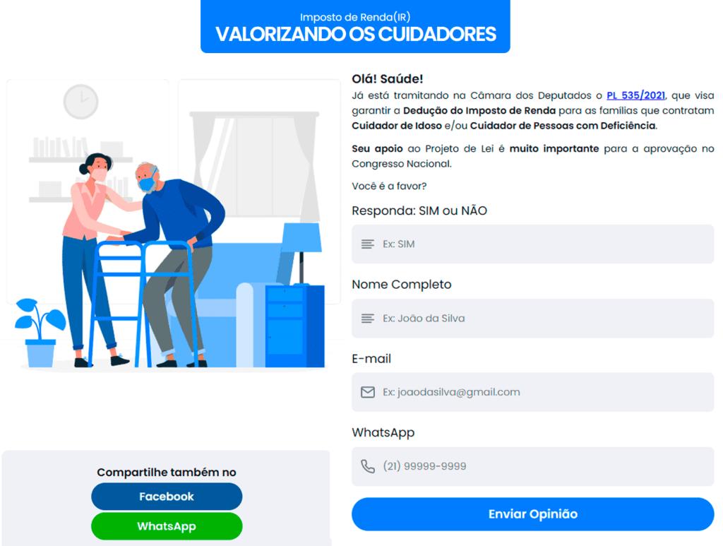 Print da tela do computador no abaixo-assinado online, Imposto de Renda valorizando os cuidadores.