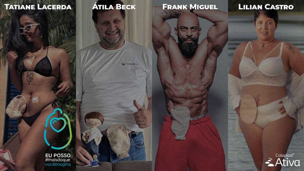 Quatro embaixadores da Coloplast, descritos na legenda, pela campanha Minha estomia não me define.