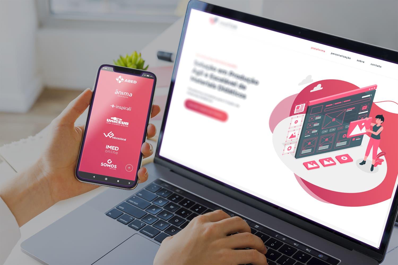 Mockup laptop - mobile, Realize, tecnologia em educação inclusiva.