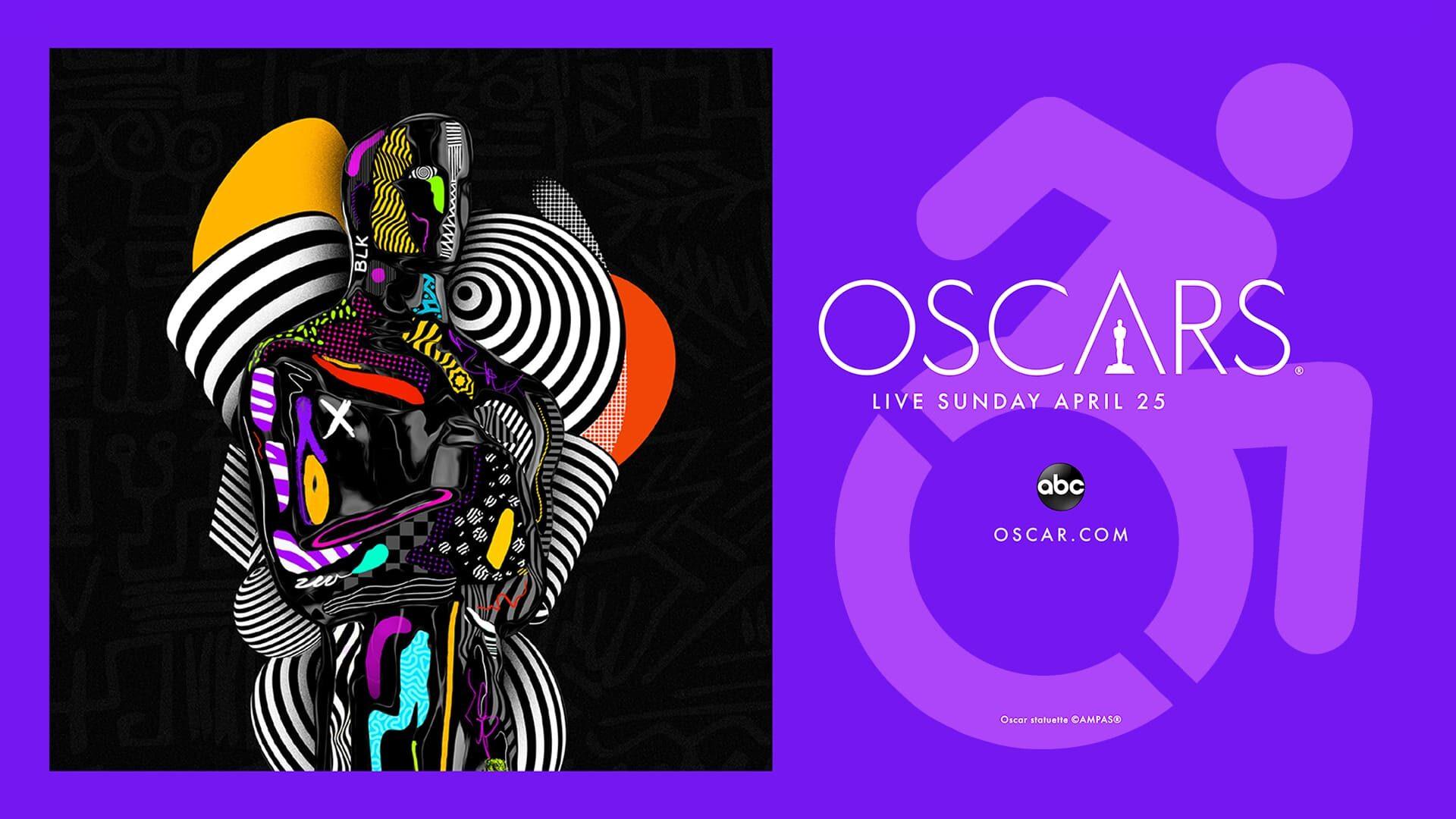 Banner oficial com estatueta estilizada do Oscar 2021, editada com símbolo de acessibilidade, ilustrando a representatividade pcd no Oscar 2021.