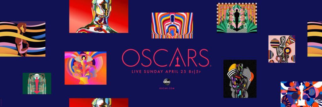 Banner com várias versões coloridas da estatueta estilizada do Oscar 2021.