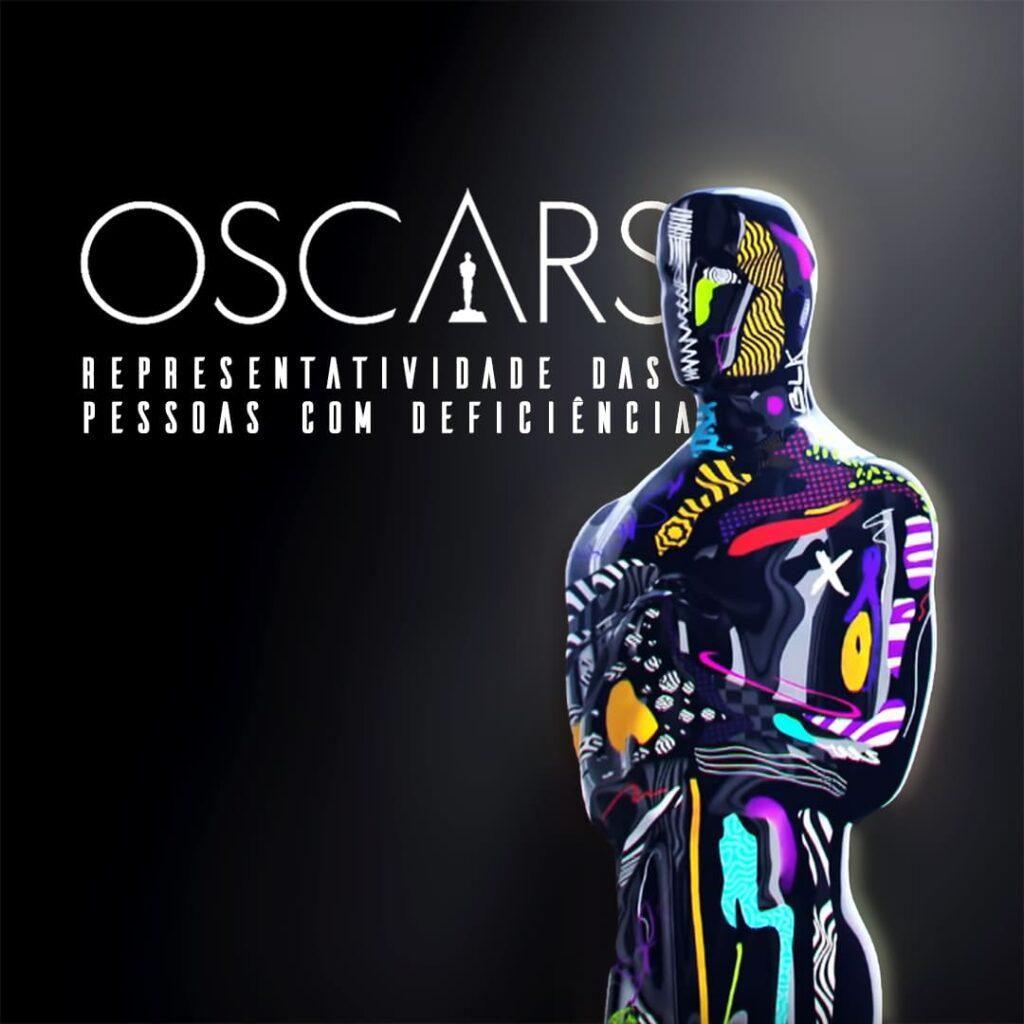 Card com a estatueta e o texto: Representatividade PcD no Oscar 2021.