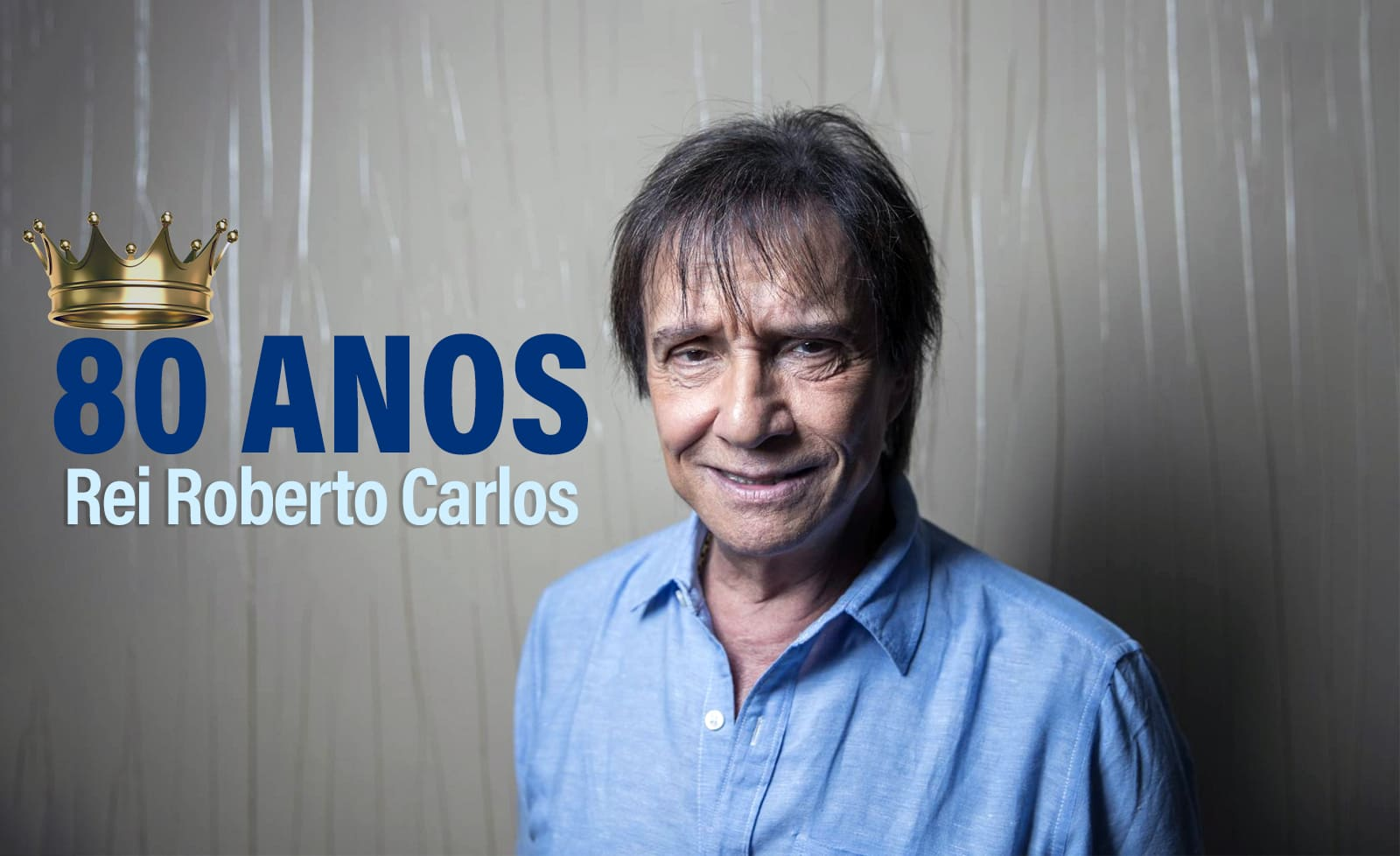 Roberto Carlos, 80 anos, com descrição na legenda do artigo 'Todos Estão Surdos' e você tá de calça, Roberto.