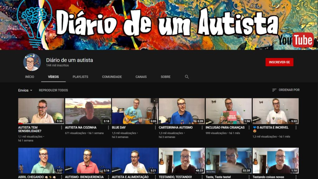Canal Diario de um Autista YouTube Jornalista Inclusivo