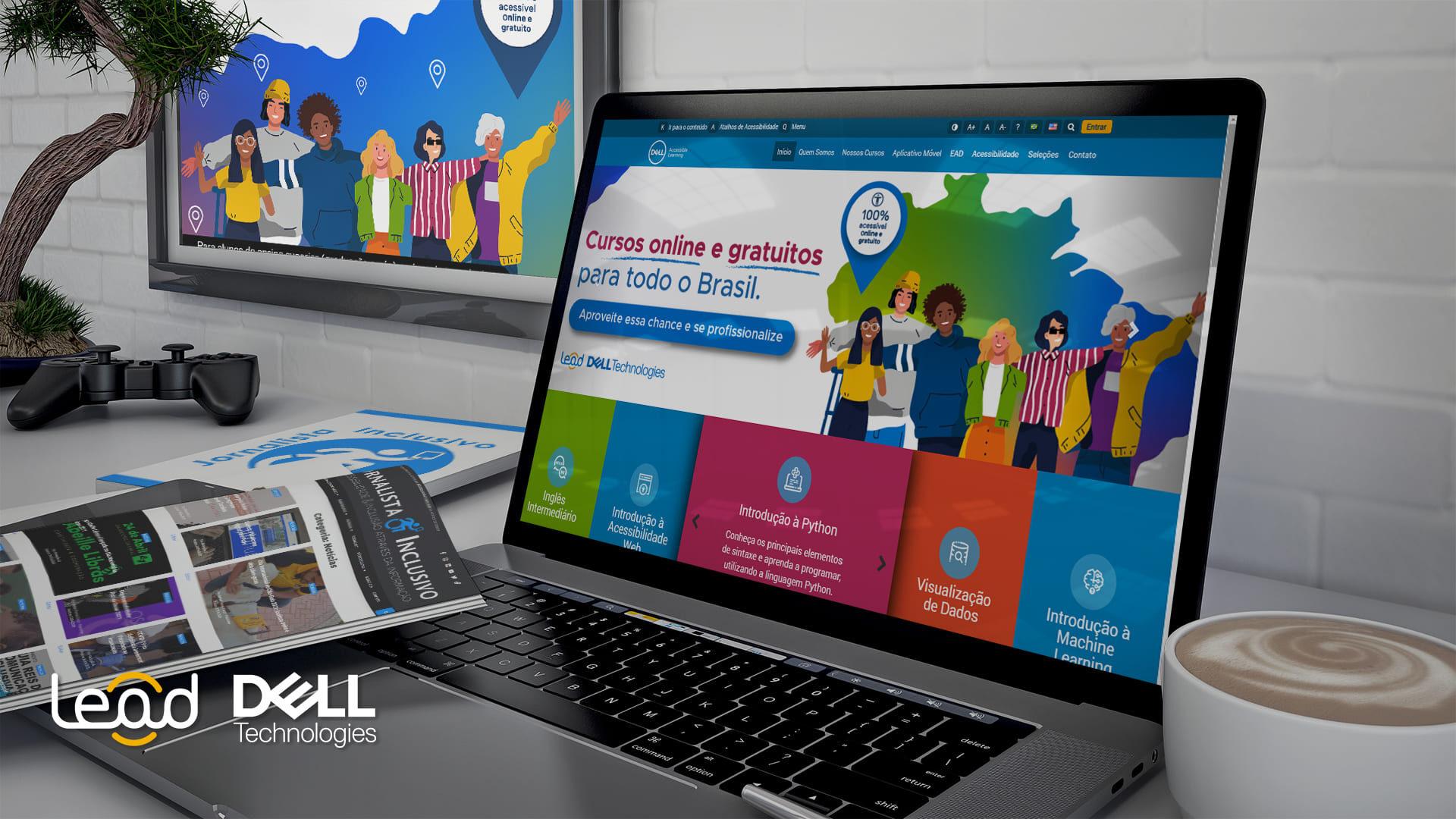 Mockup área de estudo com laptop, descrito na legenda, ilustrando Mil vagas para 16 cursos 100% acessíveis e gratuitos