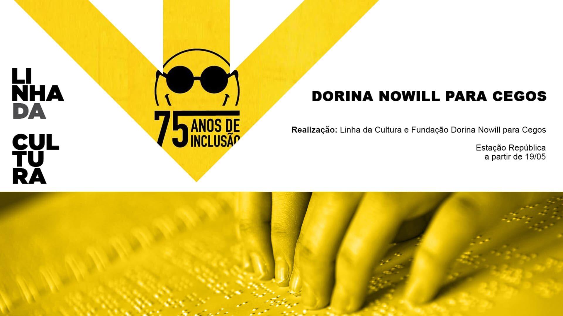 """Arte com logo e nome da Fundação Dorina Nowill para Cegos, descrita na legenda, de """"Transformando Vidas e Incluindo Pessoas""""."""