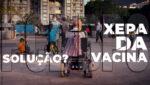 Arte com foto de cadeirante, ilustrando matéria sobre a Xepa da vacina para pcd em sp sem bpc.