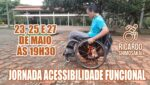 """Arte com fotografia do Ricardo Shimosakai, na cadeira de rodas, com título da 1a Jornada Acessibilidade Funcional"""", 23, 25 e 27 de maio, às 19h30, e descrição na legenda."""