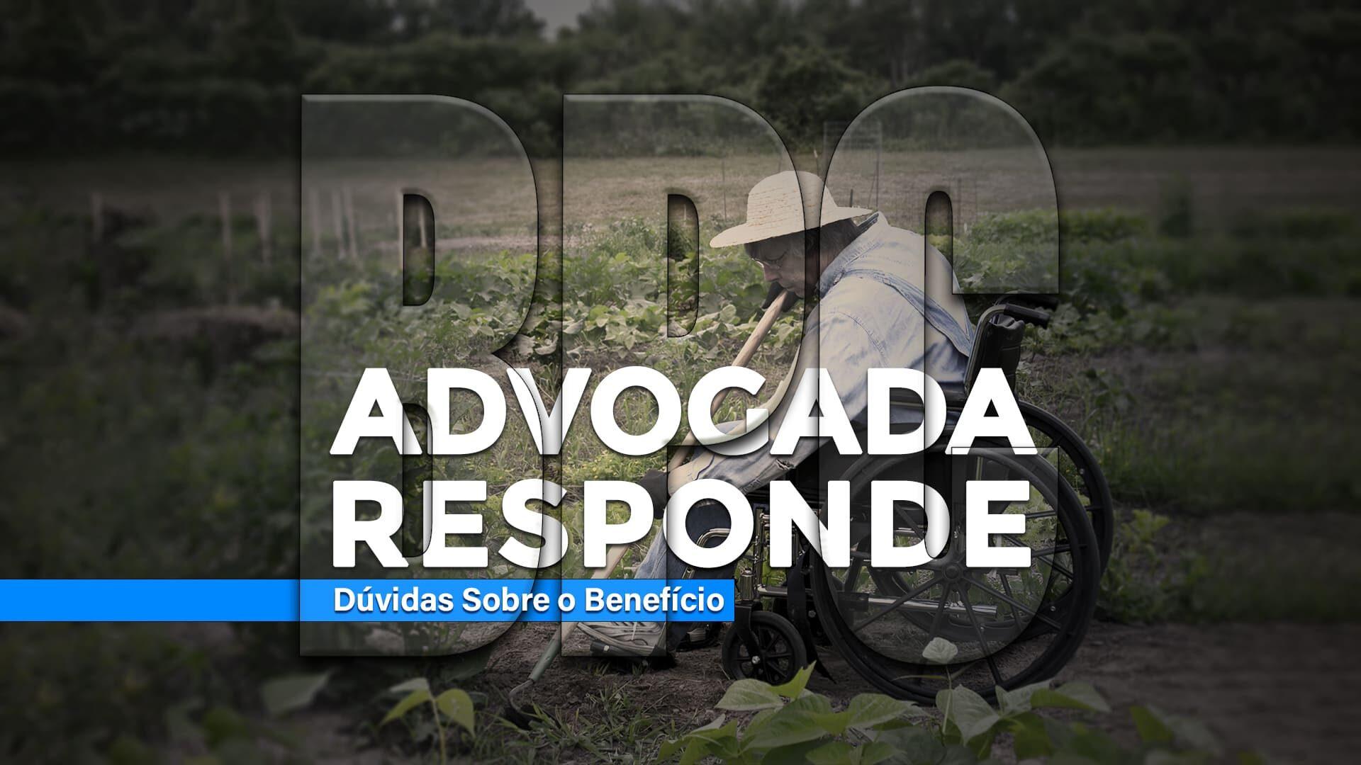 Fotografia de cadeirante trabalhando no campo, com texto descrito na legenda, sobre o BPC em perguntas e respostas.