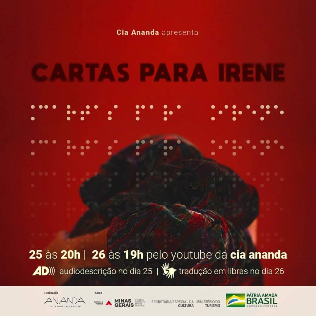 """Banner de divulgação do espetáculo """"Cartas para Irene""""."""