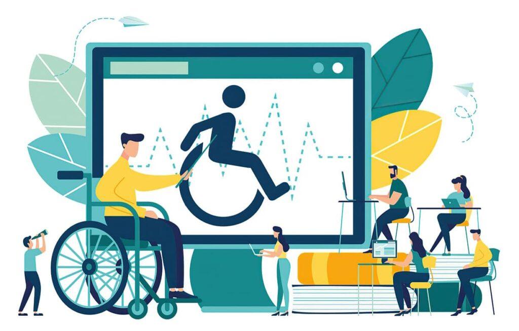 Ilustração com símbolo de acessibilidade em uma tela, um cadeirante e outras pessoas. Descrição na legenda.