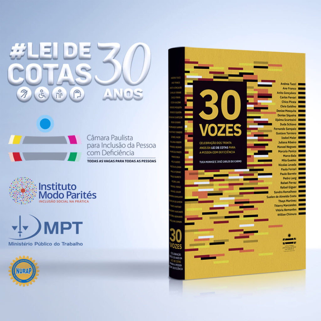 Arte Livro 30 vozes Aniversario de 30 anos da Lei de Cotas Jornalista Inclusivo 1x1 1