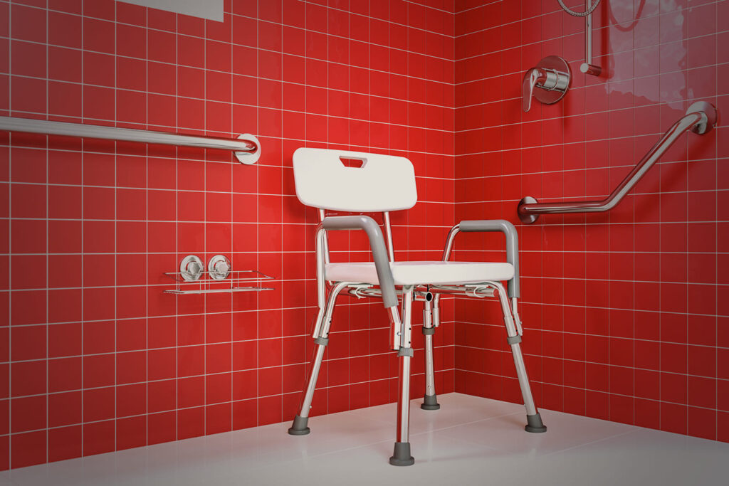 Fotografia de banheiro residencial acessível. Descrição na legenda.
