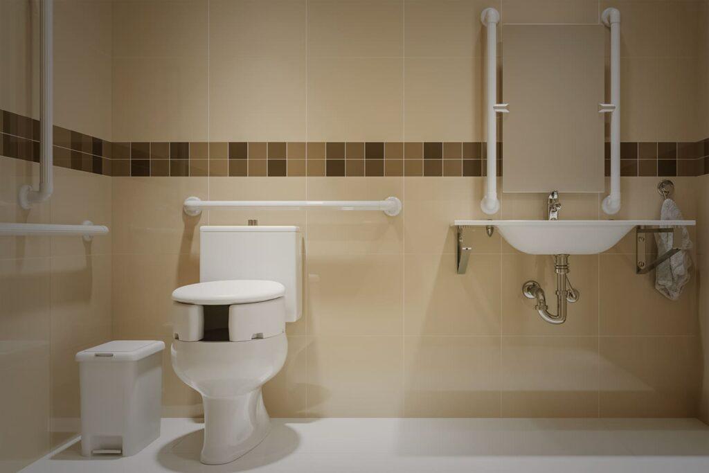 Foto de banheiro acessível, com descrição na legenda,