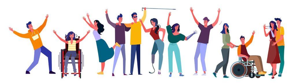 Ilustração representando diversidade com pessoas de diferentes deficiências, etnias e idade.