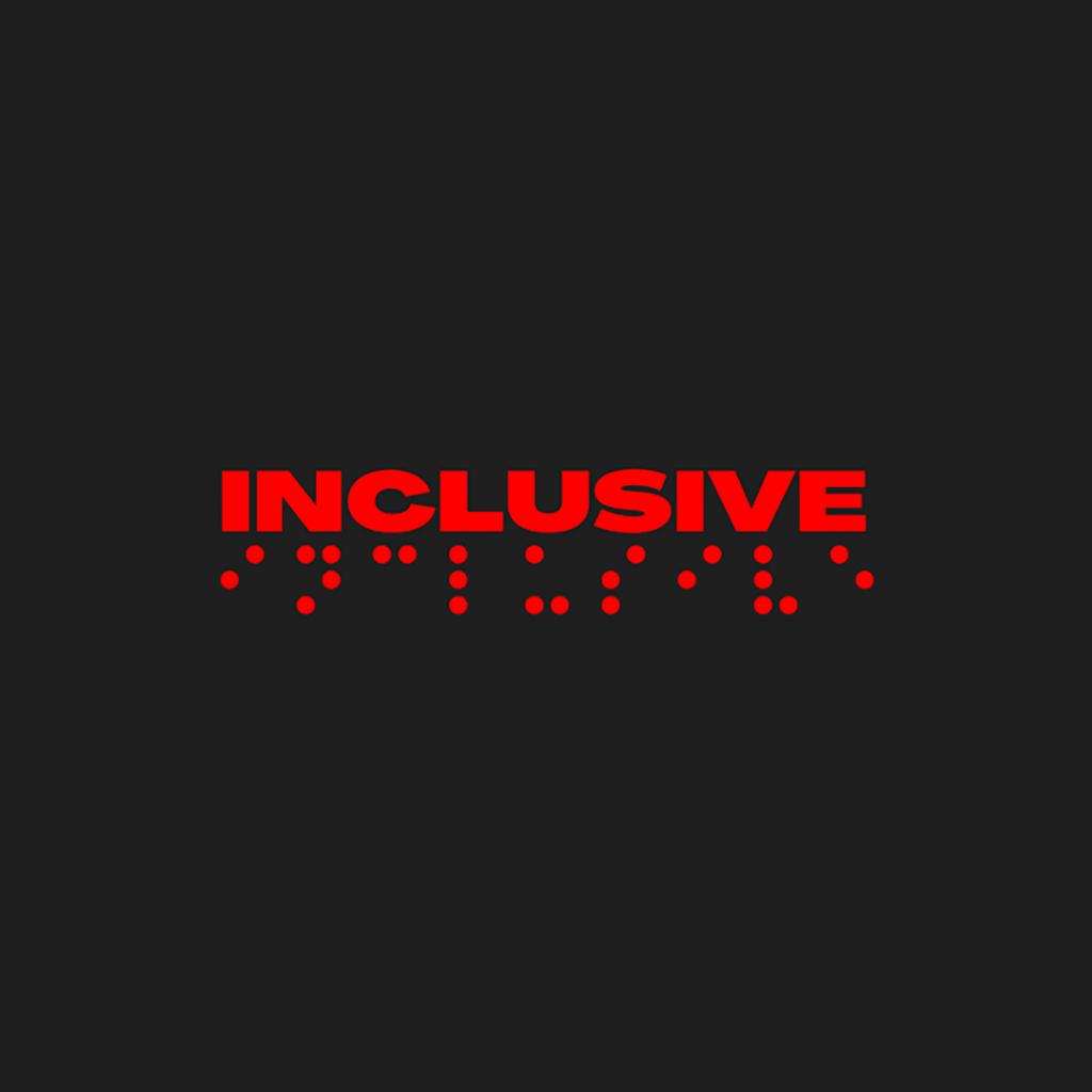 """Card quadrado, na cor preta, com o nome do evento """"Inclusive"""", e a representação em Braille, logo abaixo, ambos na cor vermelha"""