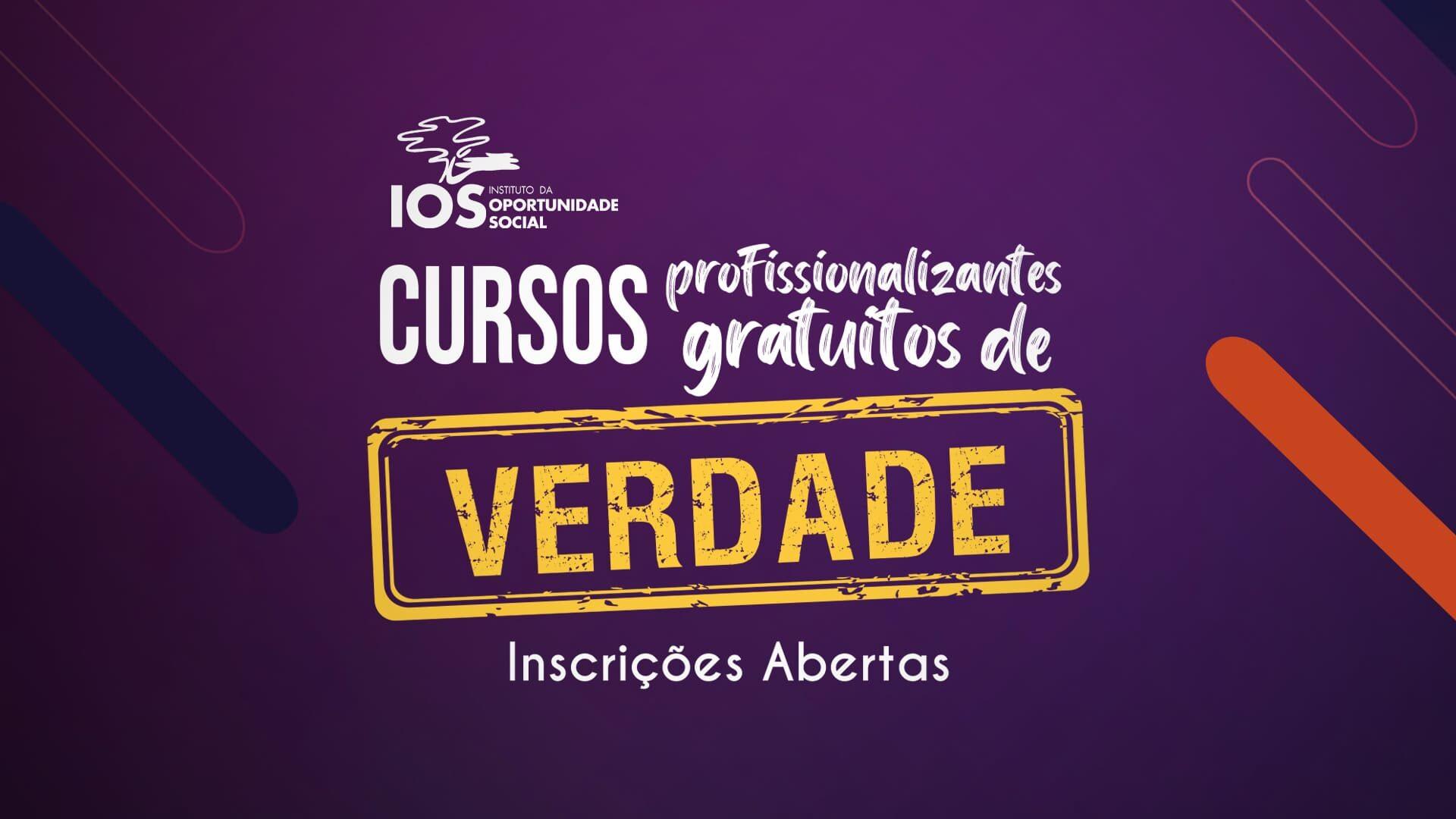 """Banner roxo de divulgação da notícia """"IOS oferece 1.524 vagas em nove cursos gratuitos de formação profissional""""."""
