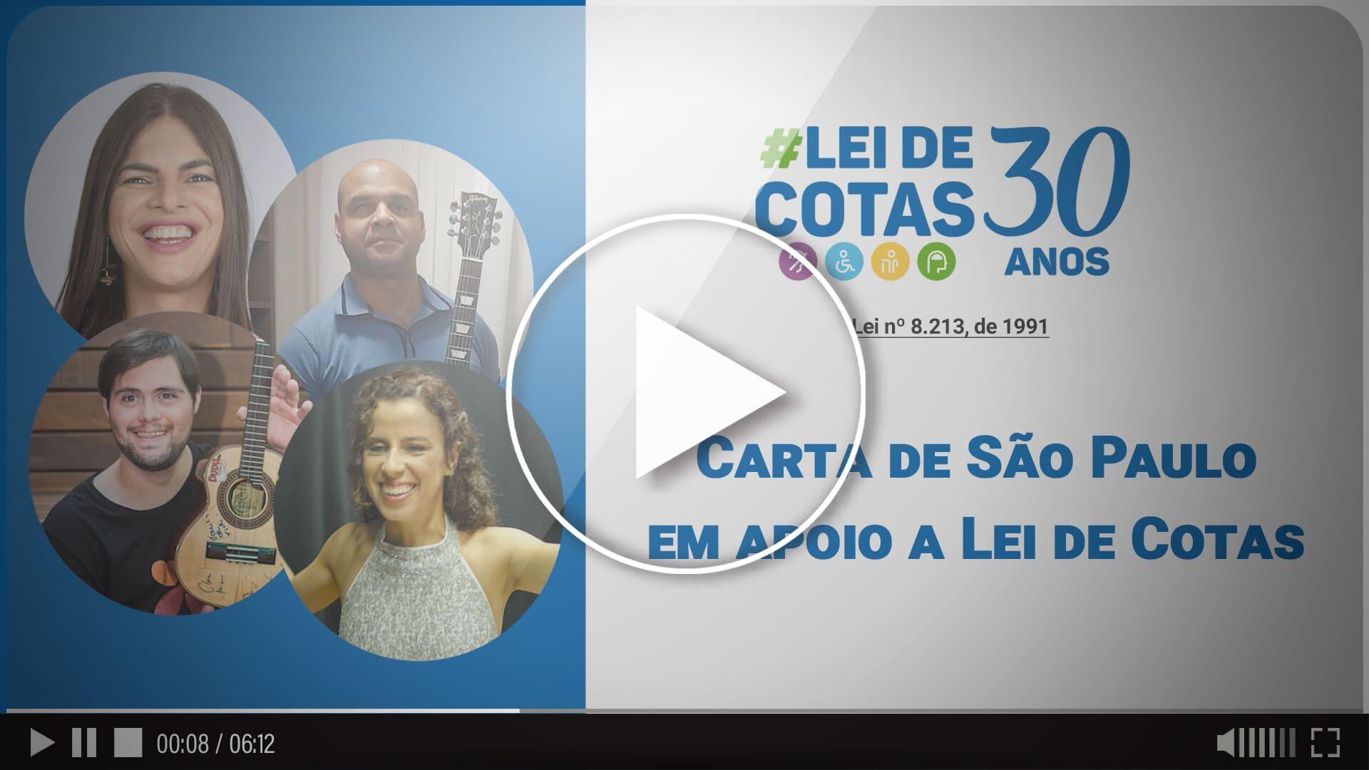 Arte com fotos e o texto: Lei de Cotas 30 anos, Carta de São Paulo 2021.