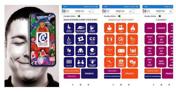 Tela de apresentação do aplicativo VEM CÁ.